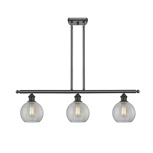 Athens Oiled Rubbed Bronze Three-Light LED Island Pendant with Clear Crackle Globe Sphere Glass