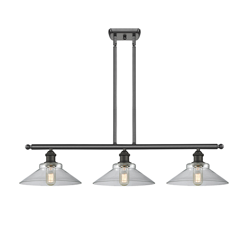 Innovations Lighting Disc Oiled Rubbed Bronze Three-Light Island Pendant with Clear Cone Glass