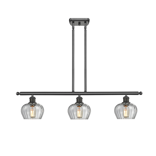 Innovations Lighting Fenton Oiled Rubbed Bronze Three-Light LED Island Pendant with Clear Fluted Sphere Glass