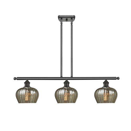 Innovations Lighting Fenton Oiled Rubbed Bronze Three-Light Island Pendant with Mercury Fluted Sphere Glass