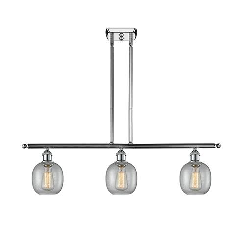 Innovations Lighting Belfast Polished Chrome Three-Light LED Island Pendant with Clear Seedy Sphere Glass