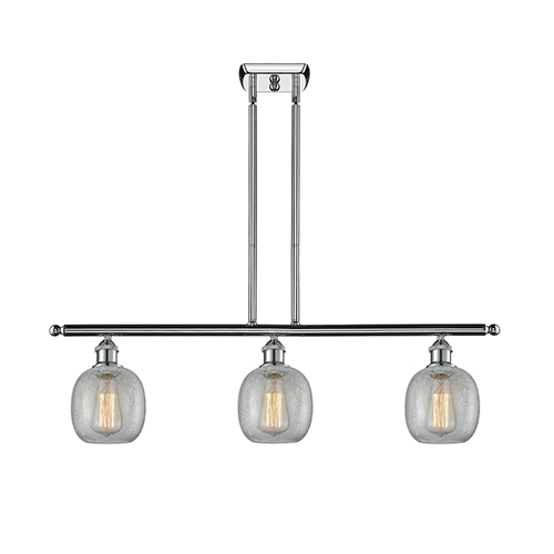 Belfast Polished Chrome Three-Light LED Island Pendant with Clear Crackle Sphere Glass