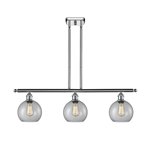 Innovations Lighting Athens Polished Chrome Three-Light LED Island Pendant with Clear Globe Sphere Glass