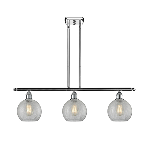 Innovations Lighting Athens Polished Chrome Three-Light Island Pendant with Clear Crackle Globe Sphere Glass