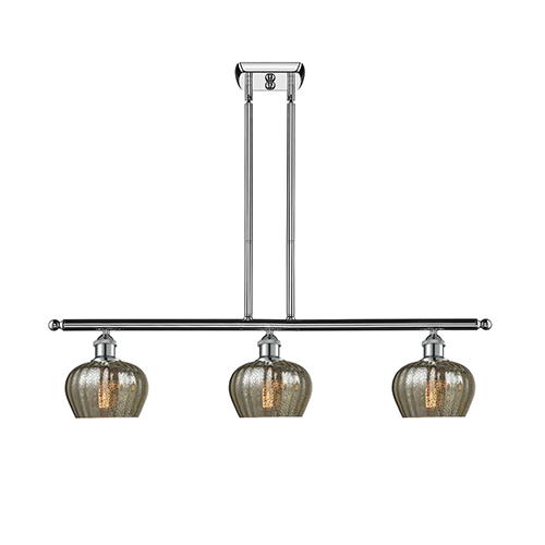 Innovations Lighting Fenton Polished Chrome Three-Light Island Pendant with Mercury Fluted Sphere Glass