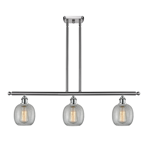 Innovations Lighting Belfast Brushed Satin Nickel Three-Light Island Pendant with Clear Crackle Sphere Glass