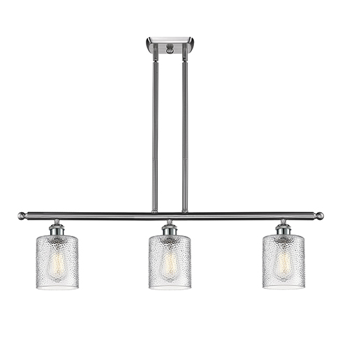 Innovations Lighting Cobbleskill Brushed Satin Nickel Three-Light Island Pendant with Clear Ripple Drum Glass