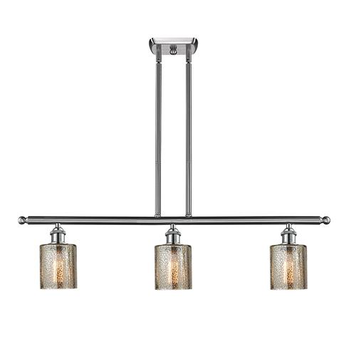 Innovations Lighting Cobbleskill Brushed Satin Nickel Three-Light Island Pendant with Mercury Drum Glass