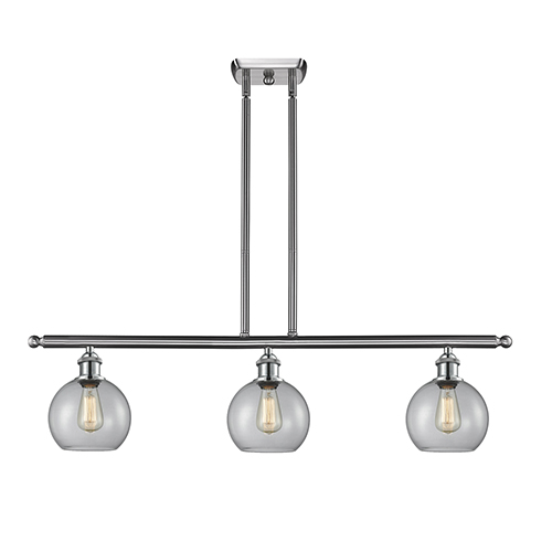 Athens Brushed Satin Nickel Three-Light LED Island Pendant with Clear Globe Sphere Glass