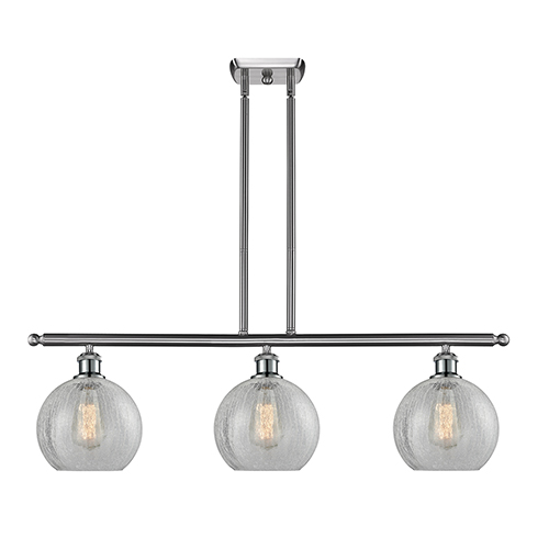 Athens Brushed Satin Nickel Three-Light Island Pendant with Clear Crackle Globe Sphere Glass