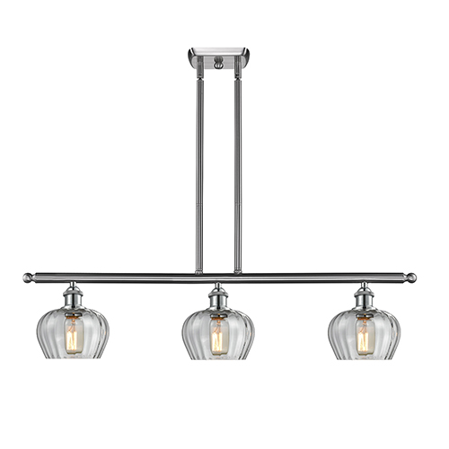 Innovations Lighting Fenton Brushed Satin Nickel Three-Light Island Pendant with Clear Fluted Sphere Glass