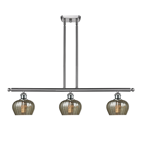 Innovations Lighting Fenton Brushed Satin Nickel Three-Light LED Island Pendant with Mercury Fluted Sphere Glass
