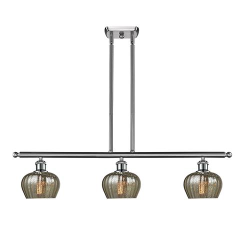 Innovations Lighting Fenton Brushed Satin Nickel Three-Light Island Pendant with Mercury Fluted Sphere Glass