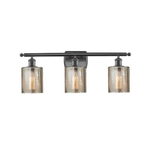 Cobbleskill Matte Black Three-Light LED Bath Vanity with Mercury Glass