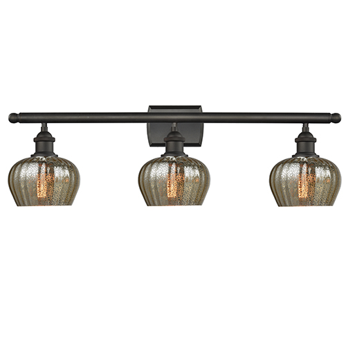 Innovations Lighting Fenton Oiled Rubbed Bronze Three-Light Bath Vanity with Mercury Fluted Sphere Glass
