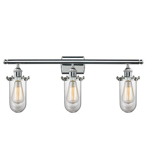 Innovations Lighting Kingsbury Polished Chrome Three-Light LED Bath Vanity with Clear Globe Glass