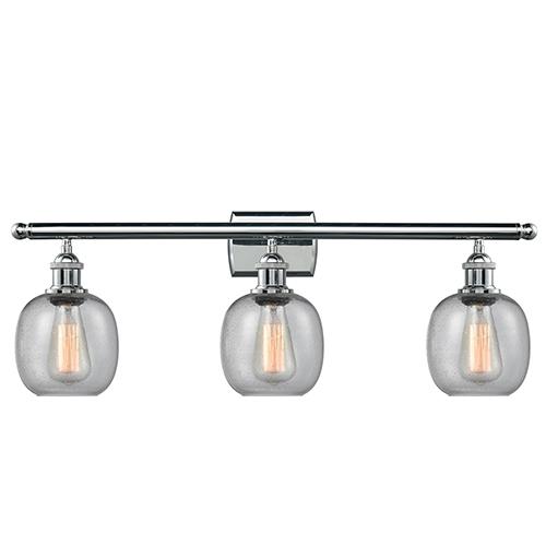 Innovations Lighting Belfast Polished Chrome Three-Light Bath Vanity with Clear Seedy Sphere Glass