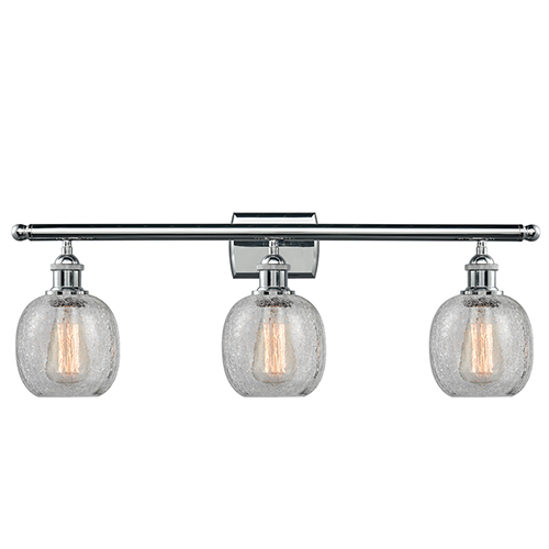 Innovations Lighting Belfast Polished Chrome Three-Light Bath Vanity with Clear Crackle Sphere Glass