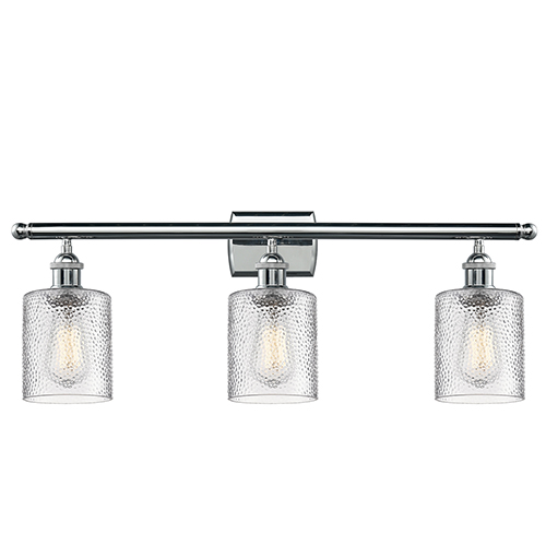 Innovations Lighting Cobbleskill Polished Chrome Three-Light LED Bath Vanity with Clear Ripple Drum Glass