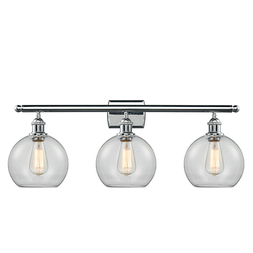 Innovations Lighting Athens Polished Chrome Three-Light Bath Vanity with Clear Globe Sphere Glass
