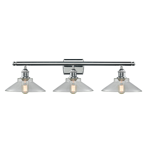 Innovations Lighting Disc Polished Chrome Three-Light LED Bath Vanity with Clear Cone Glass