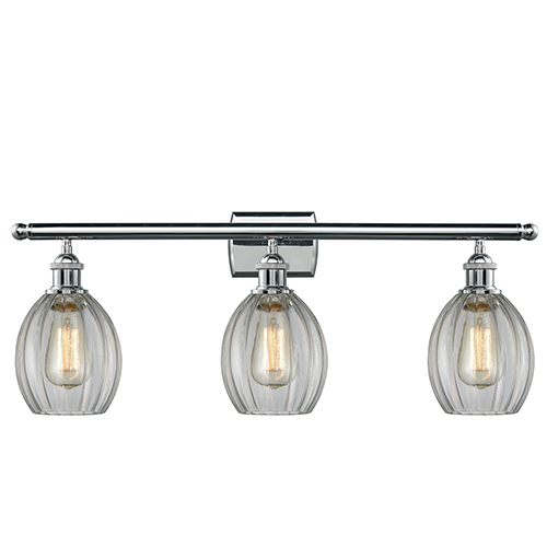 Innovations Lighting Eaton Polished Chrome Three-Light Bath Vanity with Clear Fluted Sphere Glass