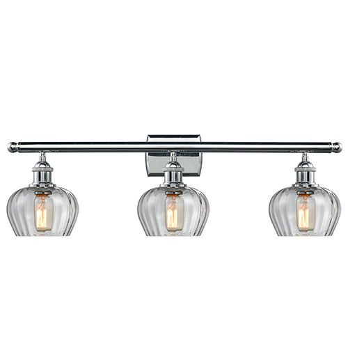 Innovations Lighting Fenton Polished Chrome Three-Light LED Bath Vanity with Clear Fluted Sphere Glass