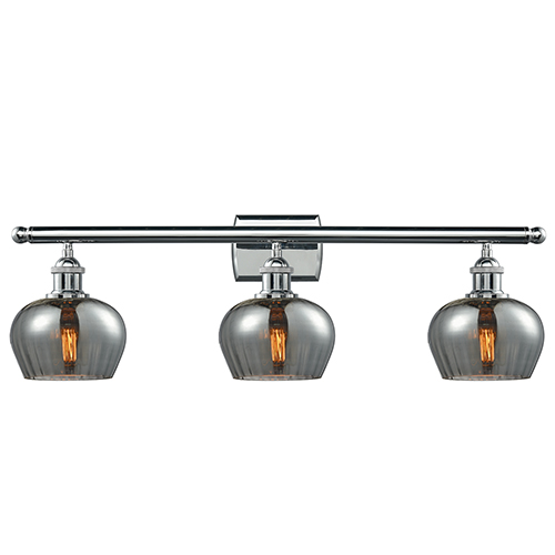 Innovations Lighting Fenton Polished Chrome Three-Light Bath Vanity with Smoked Fluted Sphere Glass
