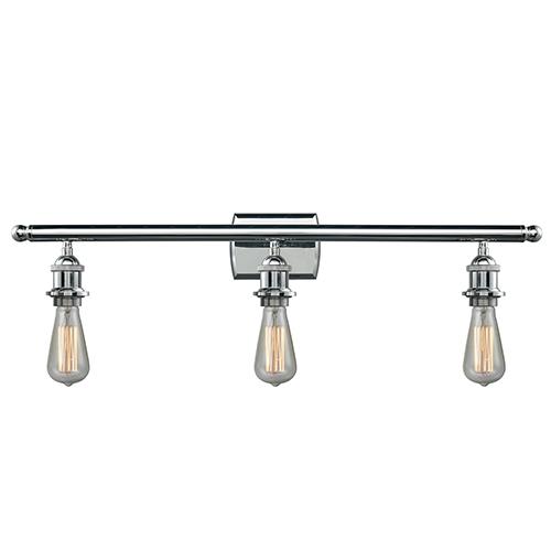 Innovations Lighting Bare Bulb Polished Chrome 26-Inch Three-Light Bath Vanity