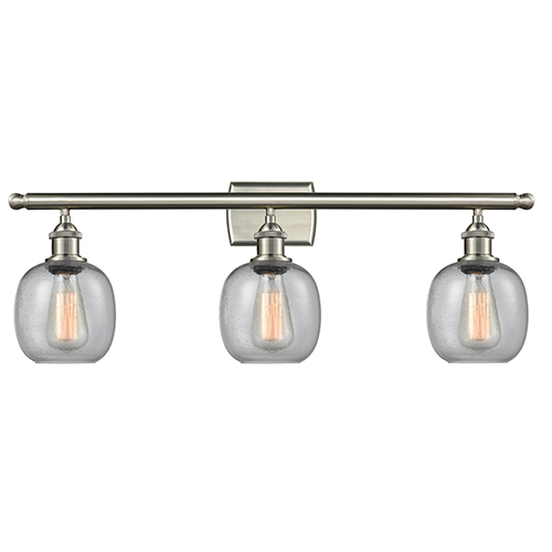Innovations Lighting Belfast Brushed Satin Nickel Three-Light LED Bath Vanity with Clear Seedy Sphere Glass