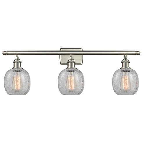 Innovations Lighting Belfast Brushed Satin Nickel Three-Light LED Bath Vanity with Clear Crackle Sphere Glass