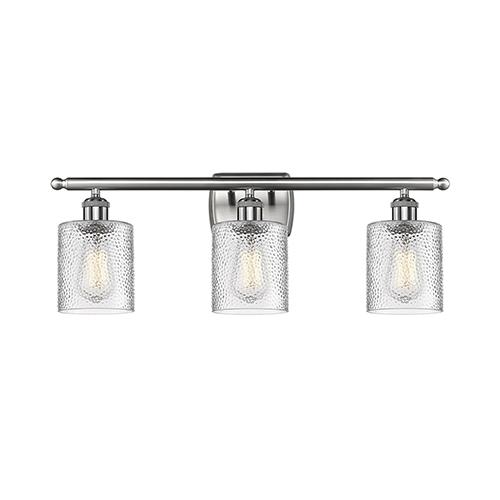Innovations Lighting Cobbleskill Brushed Satin Nickel Three-Light Bath Vanity with Clear Ripple Drum Glass