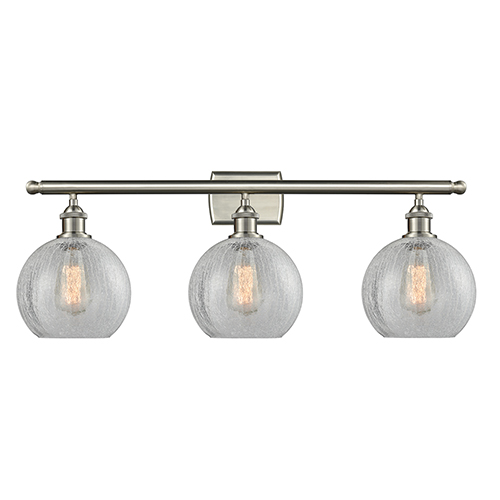Innovations Lighting Athens Brushed Satin Nickel Three-Light Bath Vanity with Clear Crackle Globe Sphere Glass