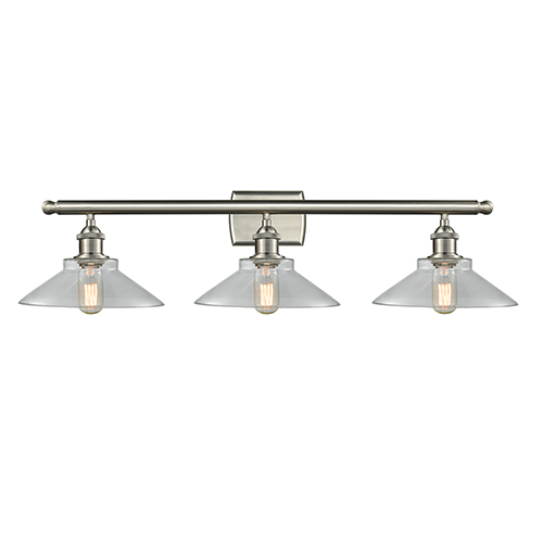 Disc Brushed Satin Nickel Three-Light LED Bath Vanity with Clear Cone Glass