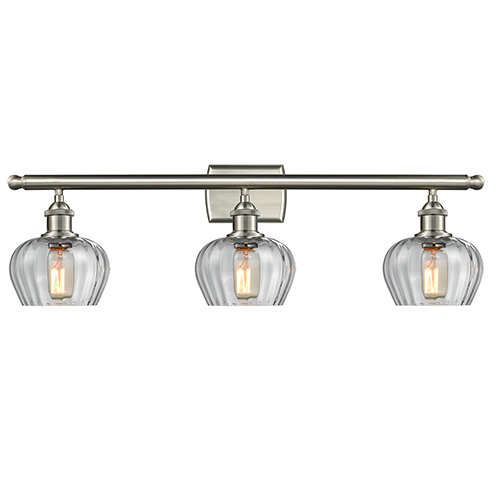 Fenton Brushed Satin Nickel Three-Light LED Bath Vanity with Clear Fluted Sphere Glass