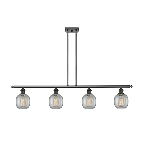 Innovations Lighting Belfast Oiled Rubbed Bronze Four-Light Island Pendant with Clear Seedy Sphere Glass