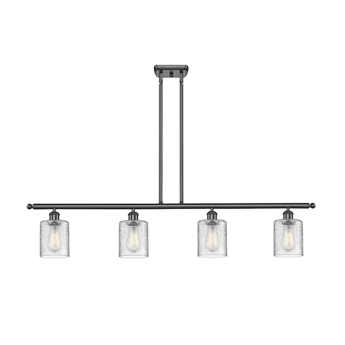 Innovations Lighting Cobbleskill Oiled Rubbed Bronze Four-Light Island Pendant with Clear Ripple Drum Glass