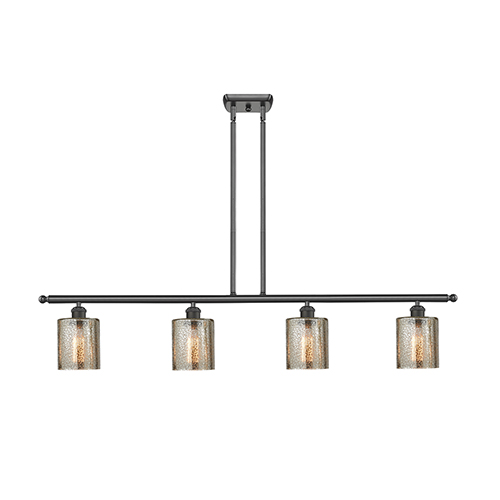 Innovations Lighting Cobbleskill Oiled Rubbed Bronze Four-Light Island Pendant with Mercury Drum Glass