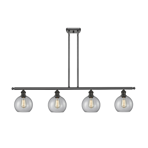 Innovations Lighting Athens Oiled Rubbed Bronze Four-Light Island Pendant with Clear Globe Sphere Glass
