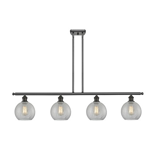 Athens Oiled Rubbed Bronze Four-Light LED Island Pendant with Clear Crackle Globe Sphere Glass