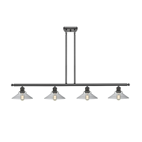 Innovations Lighting Disc Oiled Rubbed Bronze Four-Light Island Pendant with Clear Cone Glass