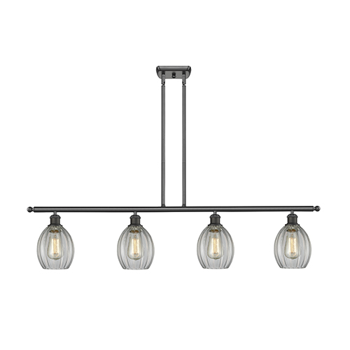 Innovations Lighting Eaton Oiled Rubbed Bronze Four-Light LED Island Pendant with Clear Fluted Sphere Glass