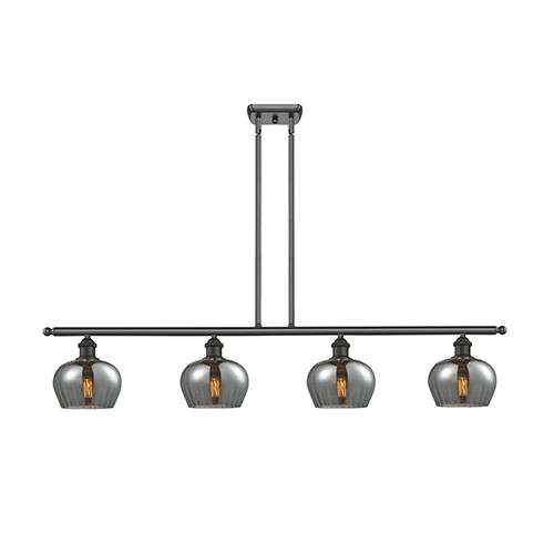 Innovations Lighting Fenton Oiled Rubbed Bronze Four-Light LED Island Pendant with Smoked Fluted Sphere Glass