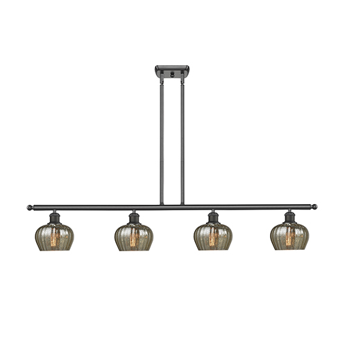 Innovations Lighting Fenton Oiled Rubbed Bronze Four-Light Island Pendant with Mercury Fluted Sphere Glass