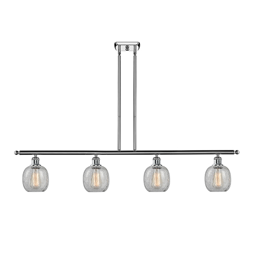 Innovations Lighting Belfast Polished Chrome Four-Light Island Pendant with Clear Crackle Sphere Glass