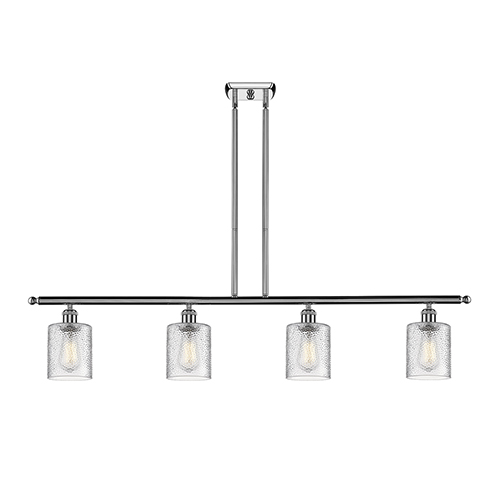 Innovations Lighting Cobbleskill Polished Chrome Four-Light LED Island Pendant with Clear Ripple Drum Glass