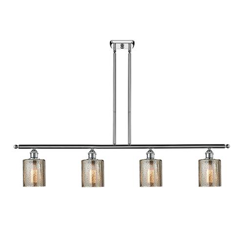Innovations Lighting Cobbleskill Polished Chrome Four-Light Island Pendant with Mercury Drum Glass
