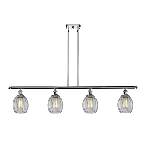 Innovations Lighting Eaton Polished Chrome Four-Light LED Island Pendant with Clear Fluted Sphere Glass