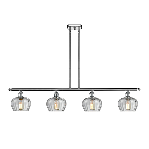 Innovations Lighting Fenton Polished Chrome Four-Light LED Island Pendant with Clear Fluted Sphere Glass