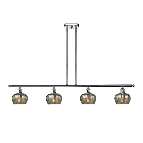 Innovations Lighting Fenton Polished Chrome Four-Light LED Island Pendant with Mercury Fluted Sphere Glass
